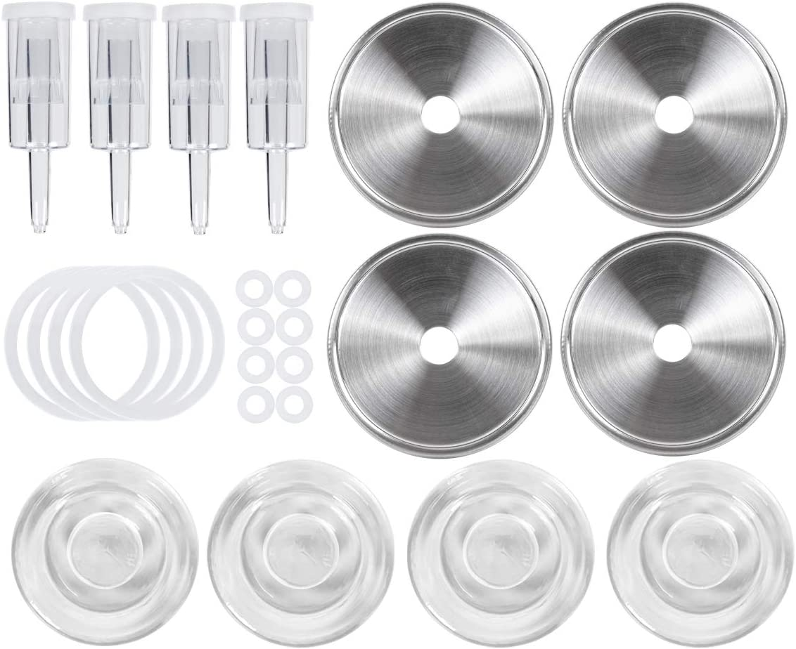 Jillmo Easy Fermentation Kit for Wide Mouth Mason Jars - 4 Airlocks, 4 Glass Weights, 8 Silicone Grommets, 4 Stainless Steel Fermenting Lids with Gaskets (Jars Not Included)