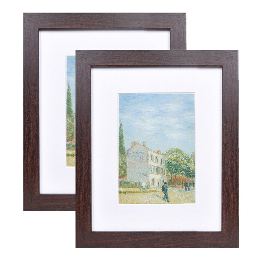 8x10 Wood Picture Frame - Flat Profile - 2 pcs - for Picture 5x7 with Mat or 8x10 Without Mat (Walnut)