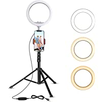 "10.2"" Selfie Ring Light with Tripod Stand & Cell Phone Holder for Live Stream/Makeup, UBeesize Mini Led Camera Ringlight for YouTube Video/Photography Compatible with iPhone 8 7 6 Plus X 6s SE Android"