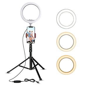 "10.2"" Selfie Ring Light with Tripod Stand & Cell Phone Holder for Live Stream/Makeup, UBeesize Mini Led Camera Ringlight for YouTube Video/Photography Compatible with iPhone Android (Upgraded)"