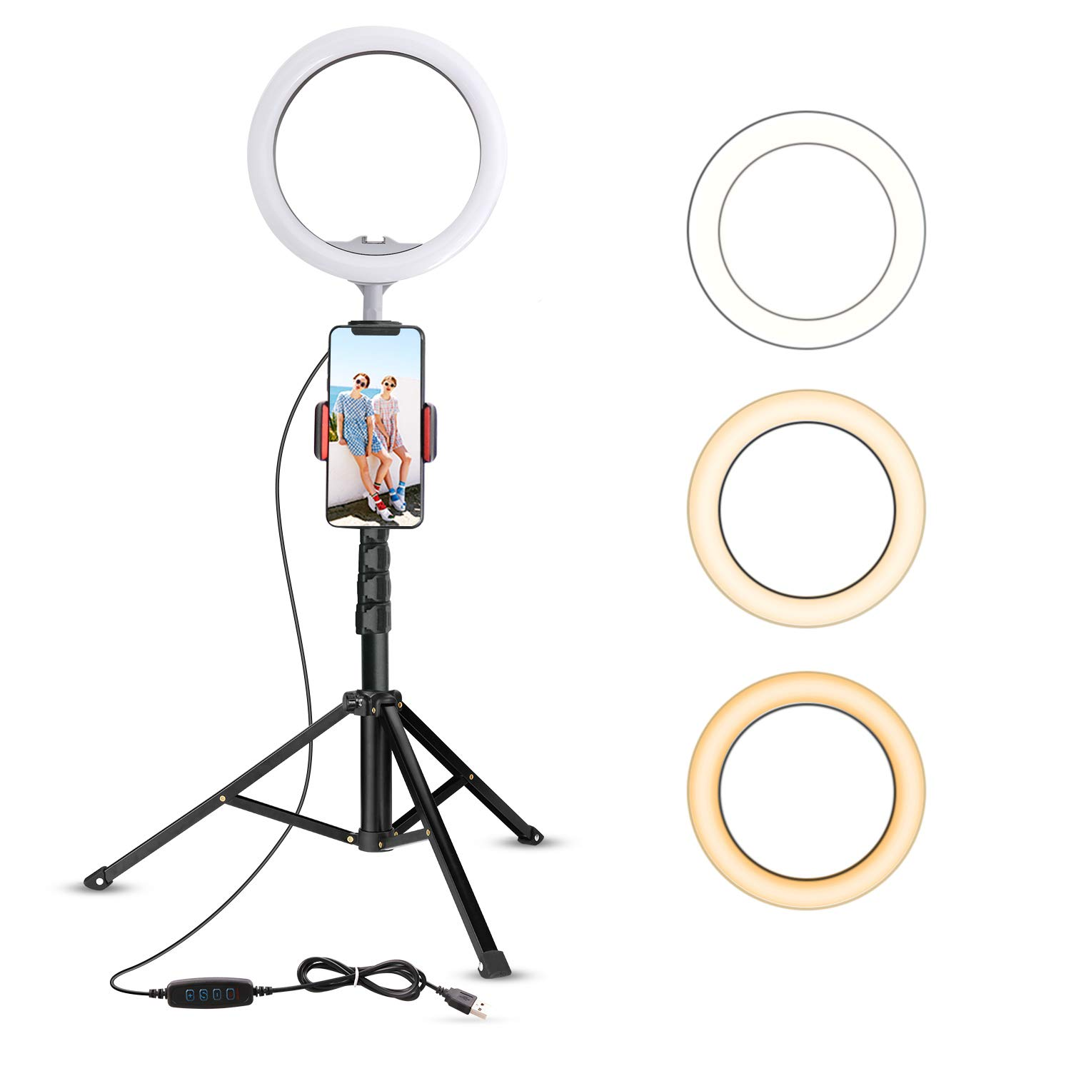 10.2'' Selfie Ring Light with Tripod Stand & Cell Phone Holder for Live Stream/Makeup, UBeesize Mini Led Camera Ringlight for YouTube Video/Photography Compatible with iPhone Android (Upgraded) by UBeesize (Image #1)
