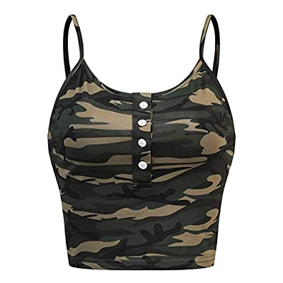 Tank Tops for Womens Tops Minaxgy Womens Sleeveless O-Neck Button Up Casual Camouflage Print Vest Cami Tank Top at Women's Clothing store