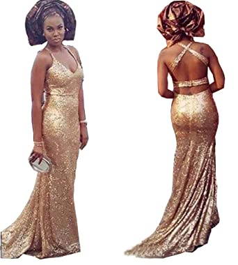 Fanciest Womens Mermaid Prom Dresses Long Evening Dress Backless Bridesmaid Dresses Gold US2