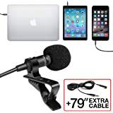 Professional Grade Lavalier Lapel Microphone  Omnidirectional Mic with Easy Clip On System  Perfect for Recording Youtube / Interview / Video Conference / Podcast / Voice Dictation / iPhone