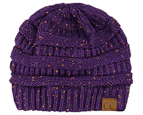 C.C Unisex Colorful Confetti Soft Stretch Cable Knit Beanie Skull Cap - Dark Purple