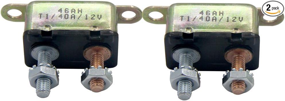 ZOOKOTO 12V 50A Auto Circuit Breaker Automatic Reset Fuse Stud Bolt 50 Amp
