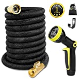 Expandable Garden Hose 50 FT Flexible Expanding Water Hose, Lightweight Yard Cloth Hoses with 3/4 inch Solid Brass Fittings 9 Function Spray Nozzle, Gardening Outdoor Hose(12 Months Guarantee)