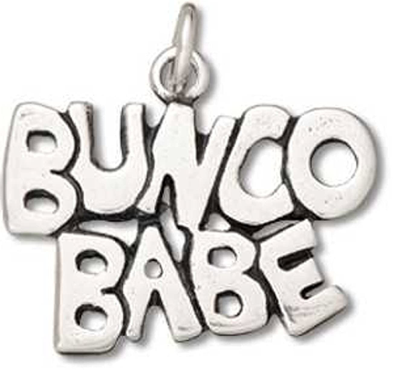 Sterling Silver Girls .8mm Box Chain BUNCO BABE Word Pendant Necklace
