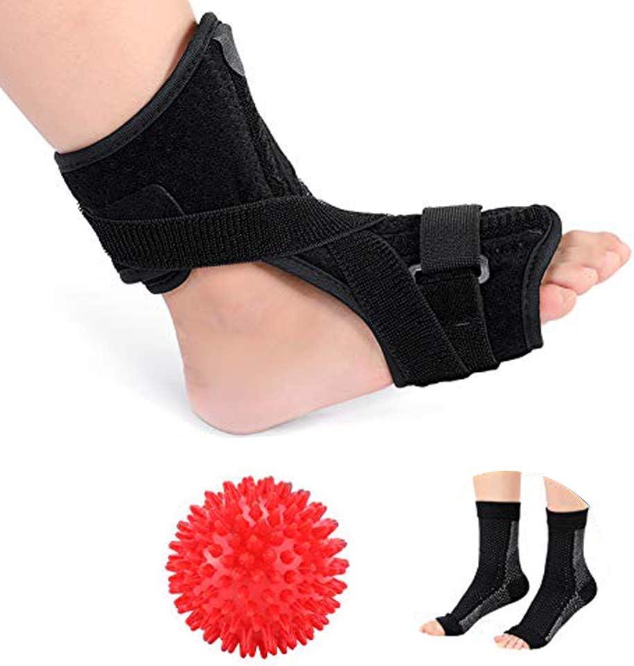 Férula de noche para fascitis plantar, apoyo ortopédico para el pie con un par de calcetines de compresión y una bola con pinchos para tendón de Aquiles, pies caídos y tendinitis