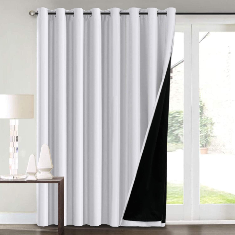 "Keep 100/""W x 84/""L Grey Wide Blackout Curtains Patio Sliding Door Curtain"