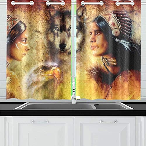 ENEVOTX Beautiful Painting Young Indian Man Woman Kitchen Curtains Window Curtain Tier