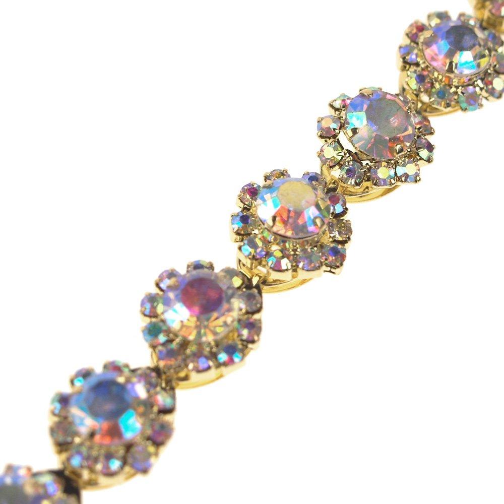3//8-Inch Homeford Aurora Borealis AB Crystal Rhinestone Jewel Trim 1-Yard 1-Yard Iridescent Gold