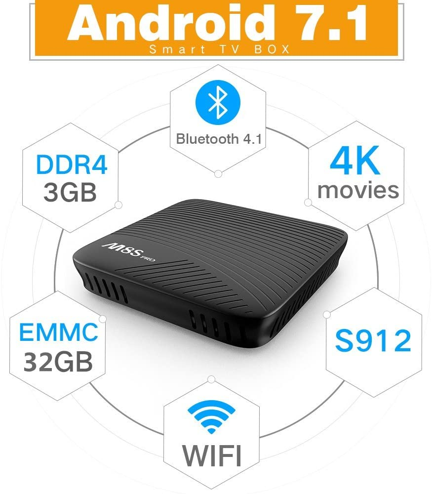Android TV Box 3GB DDR4 RAM 32GB eMMC Amlogic Octa Core S912 Android 7.1 4K Movies Smart TV Media Player HDR10 802.11AC Dual Band WIFI LAN Bluetooth H.265: Amazon.es: Electrónica