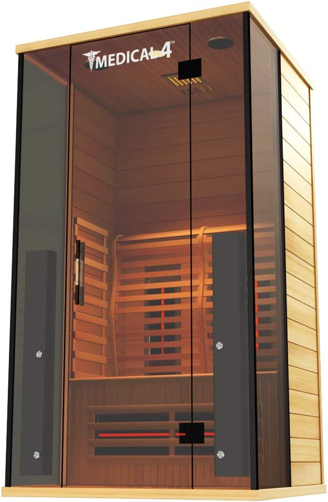 Medical Sauna 4 Full Spectrum Home Sauna – 2 Person Indoor Infrared Sauna Spa Oxygen Ionizer, Chromatic Light Therapy, Hot Yoga Audio System Full Spectrum, Carbon Heaters Luxury Sauna
