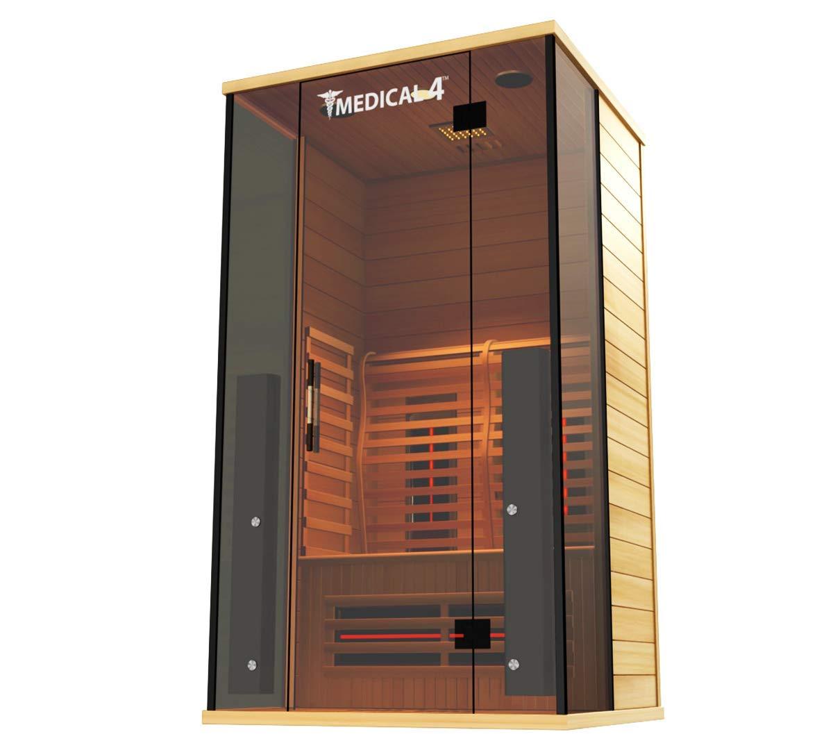 Medical Sauna 4 Full Spectrum Home Sauna – 2 Person Indoor Infrared Sauna Spa Oxygen Ionizer, Chromatic Light Therapy, Hot Yoga Audio System Full Spectrum, Carbon Heaters Luxury Sauna