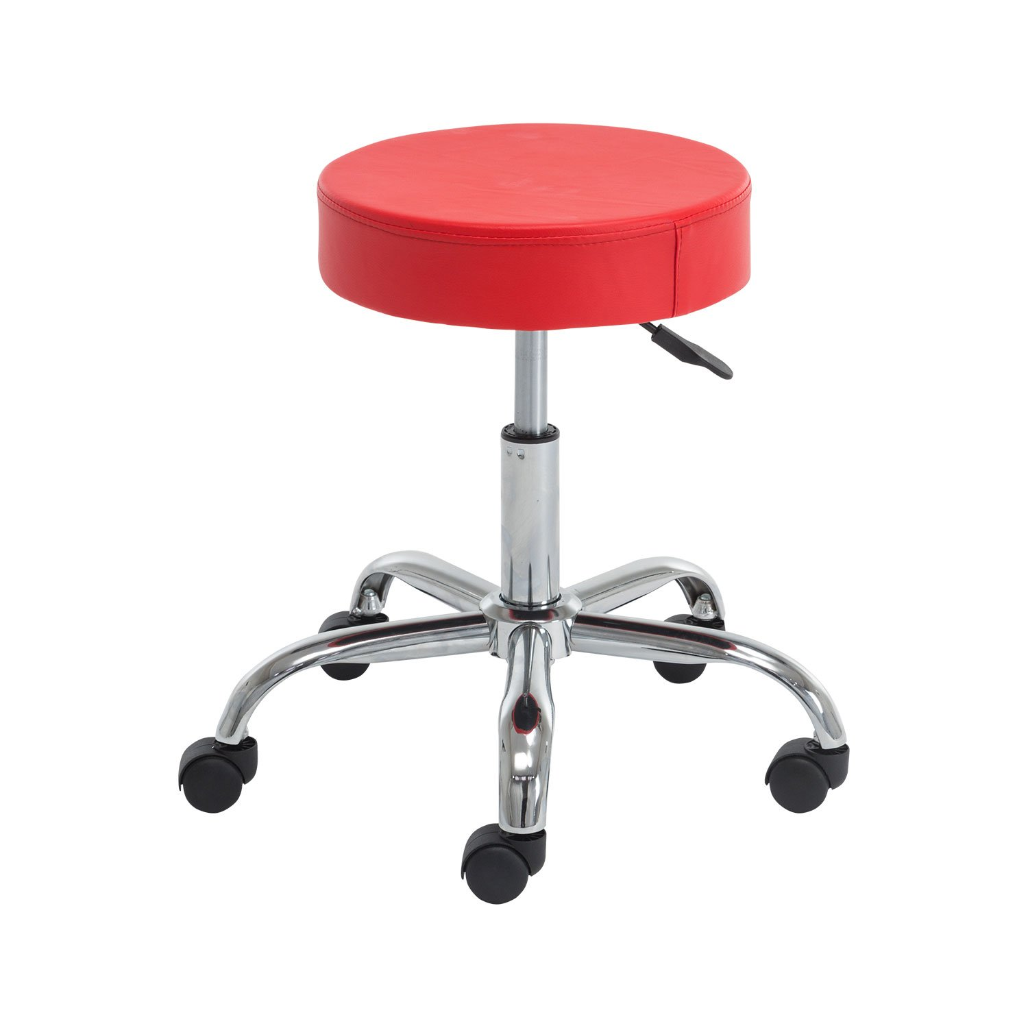 Polorim Rolling Chairs Height Adjustable PU Leather c Massage Spa Stool (red)