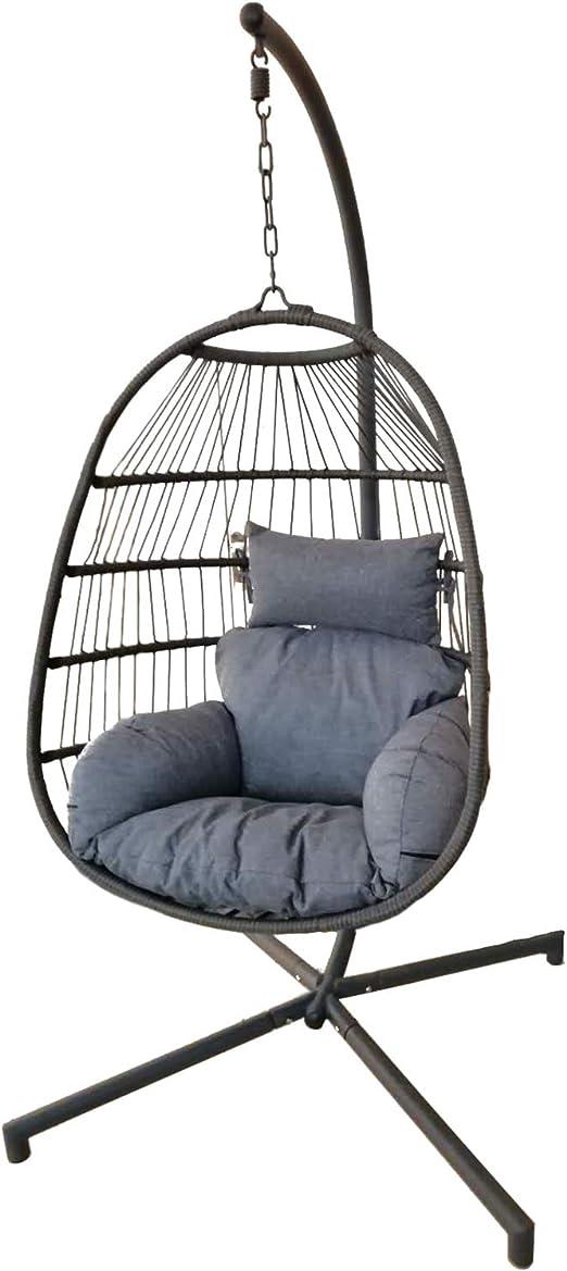 Chicreat - Silla balancín de polirratán con estructura plegable y cojines en asiento y respaldo, 88 x 64 x 117 cm: Amazon.es: Jardín