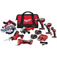 Milwaukee M18 18-Volt Lithium-Ion Cordless Combo Tool Kit with Two 3.0 Ah Batteries