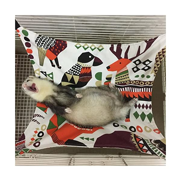 Margelo Pet Cage Hammock, Cat Ferret Hammock Bed for Bunny/Rabbit/Rat/Small Animals 4