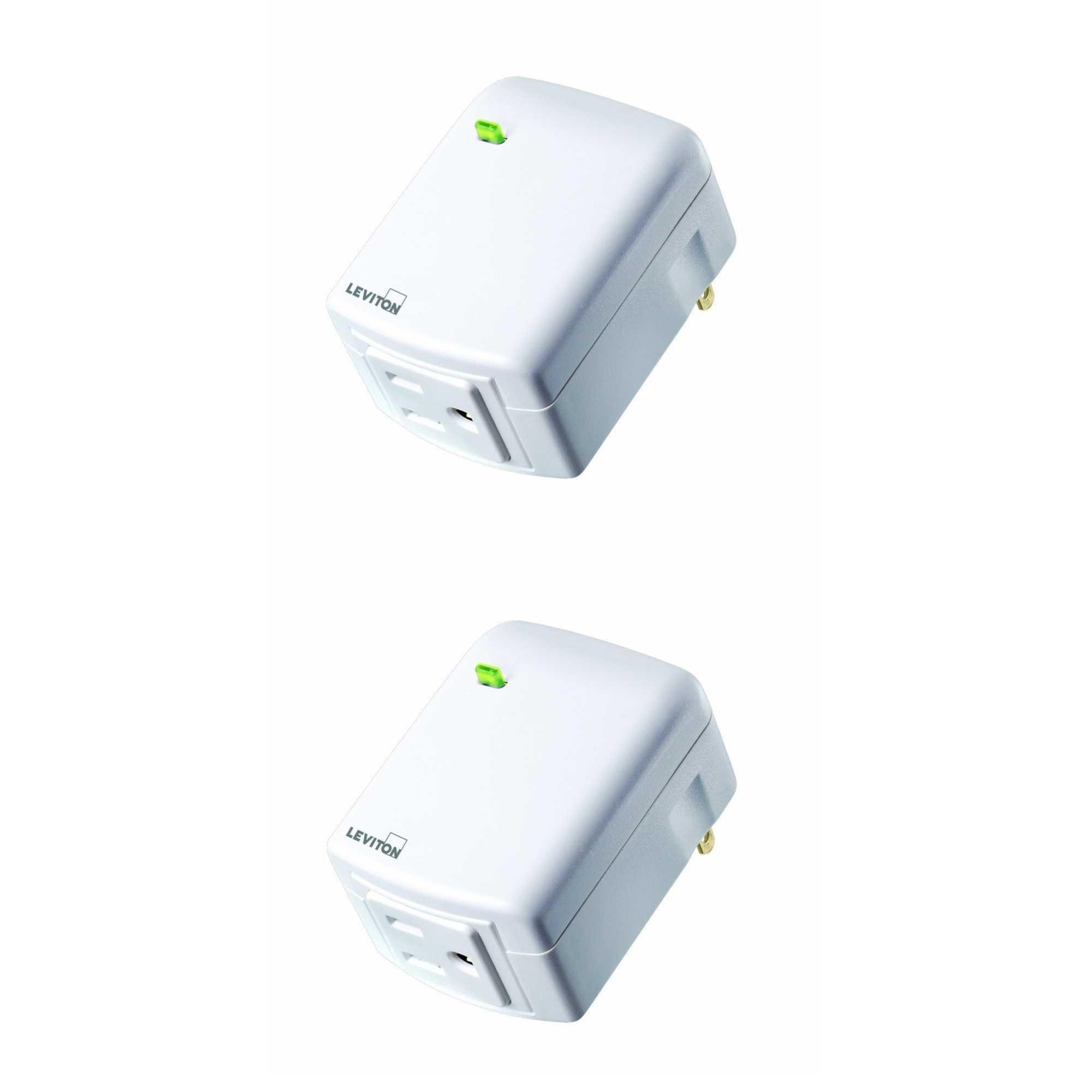 Leviton DW15A-1BW Decora Wi-Fi Plug-in Outlet, Works w/Amazon Alexa (2 Pack) by Leviton