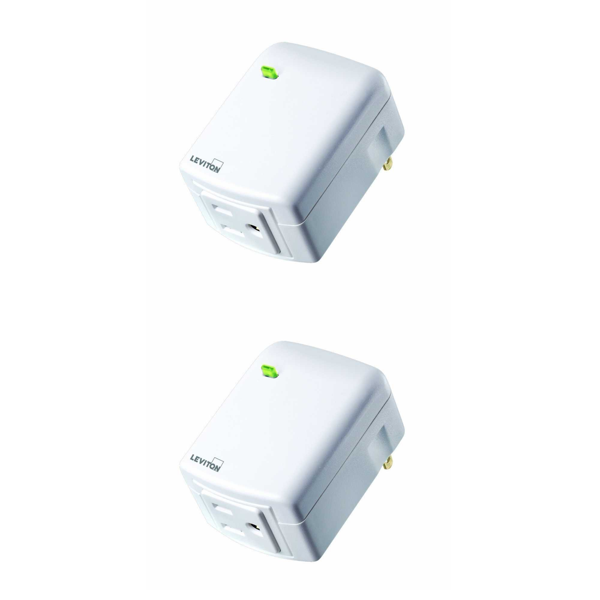 Leviton DW15A-1BW Decora Smart Wi-Fi Plug-in Outlet, Works with Amazon Alexa, No Hub Required (2 Pack)