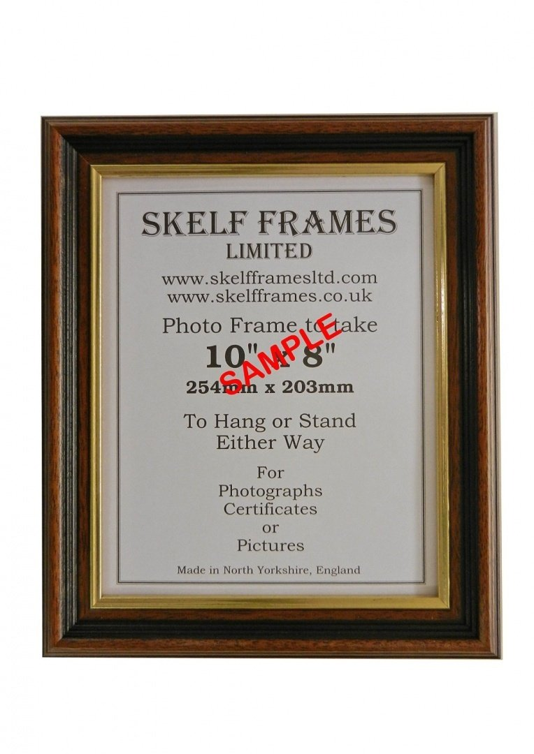 A1 WOOD PICTURE PHOTO POSTER FRAME (35mm Dark Wood with Gold Inlay) Skelf Frames Ltd