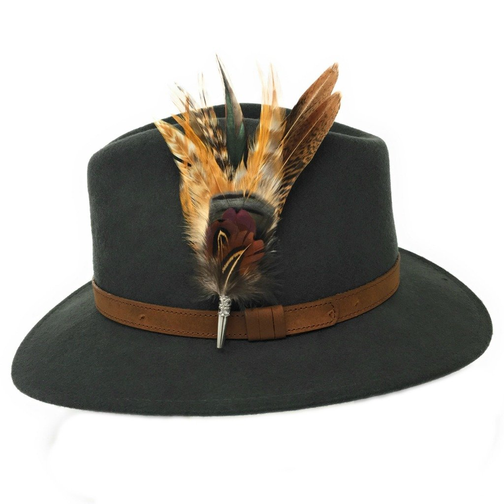 Women's Wool Fedora Hat with Leather Belt Trim and English Country Feather Brooch (Dark Green, Large - 59cm)