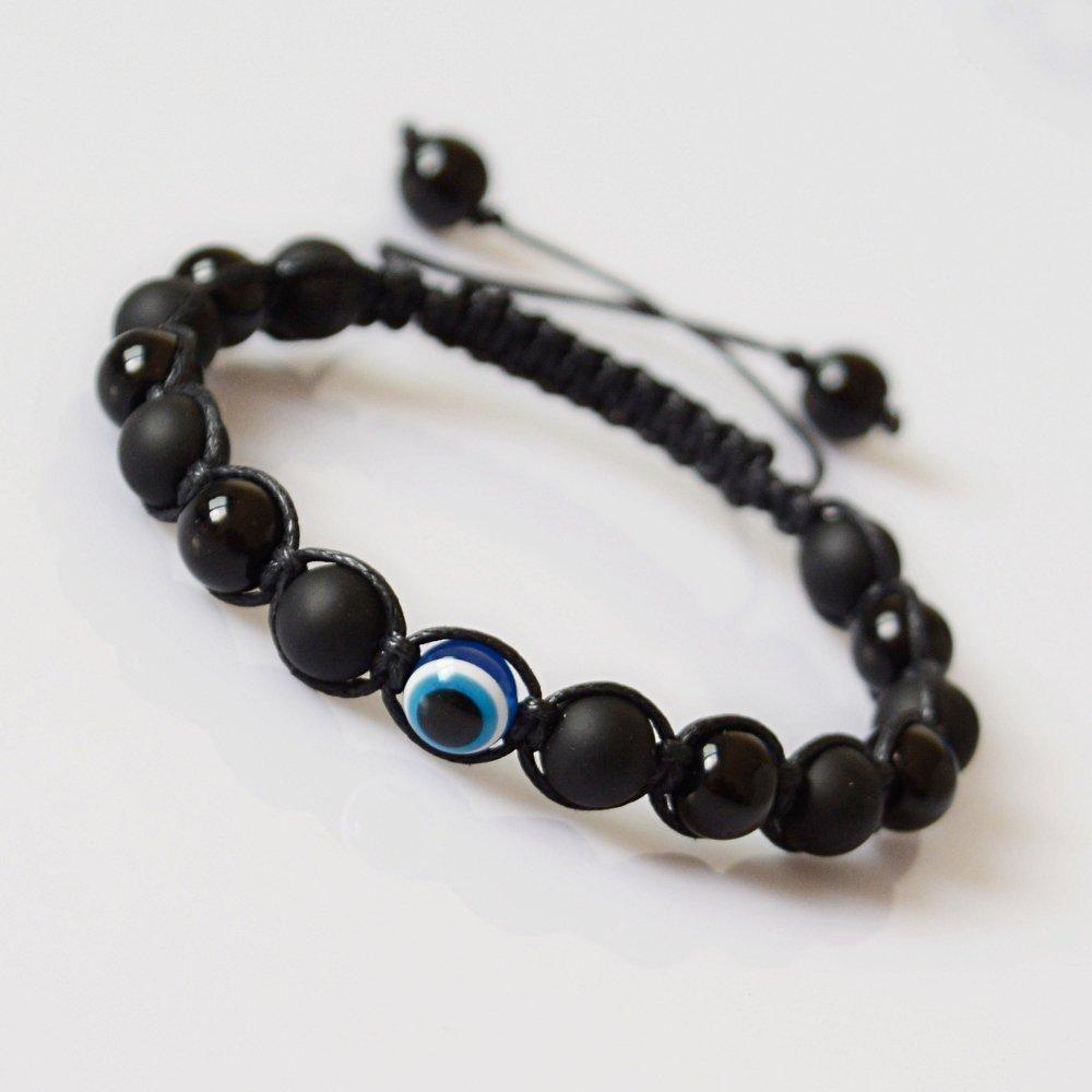 Gemstone Evil Eye Bracelet for Him  Mens Black Bead Bracelet  Mens Bead Bracelet  Mens Bracelet  Protection Bracelet Evil Eye Bracelet