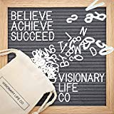 Visionary Life Co Gray Felt Letter Board Sign - 10x10 Changeable Letterboard Comes with 320 White Plastic Letters and Wooden Oak Frame - for Decor, Office, Bulletin, Baby Message, Home & Classroom