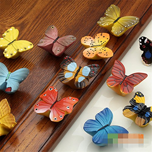 Butterfly Knob Drawer (Resin Chromatic Butterfly Shape cabinet knobs and handles For Children's Furniture Drawer Handles (12))