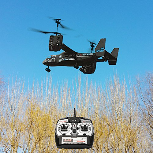 emote Control RC Helicopter, Mid-Sized 2.4GHZ 4.5CH Dual Axis RC Airplane with Double Gyro and Headlamp, Boy's Toy - Remote Control UAV Aircraft for Cool Kids (Black) ()