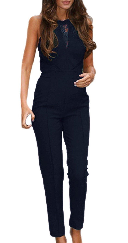 Saoye Fashion Mujer Monos De Fiesta Mono Largos Elegantes con Falda Pantalón Detalle De Encaje para Bodas Sin Mangas Jumpsuit Slim Coctel Vintage ...
