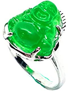 yigedan Womens Titanium Steel Carved Green Jade Buddha Ring PvByJC