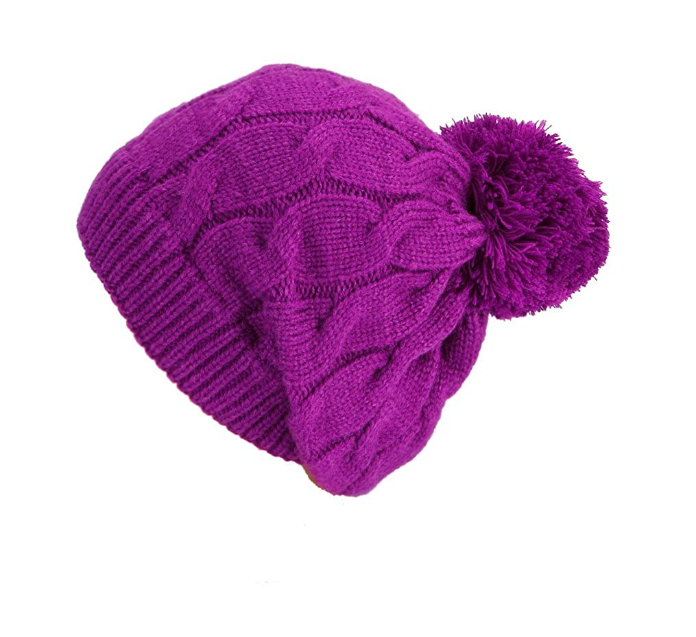 Bonnet Léa avec pompon et le modèle de câble - chapeau d'hiver bonnet de ski de snowboard dames de chapeau chapeau chapeau tricoté tricoté hiver de chapeau casquettes 235/262 Automne / Hiver 2013/14