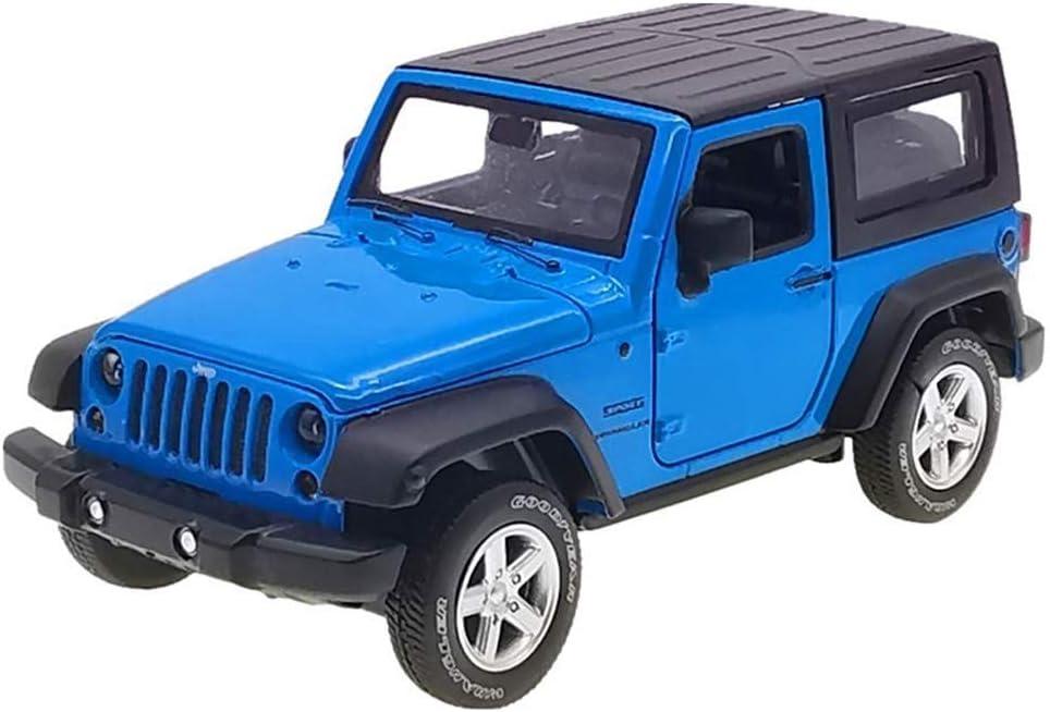 Pkjskh Tire hacia atrás del arte juguete modelo de coche SUV niños Colección de simulación puede abrir la puerta 1:24 Escala Coches (Color : Azul)