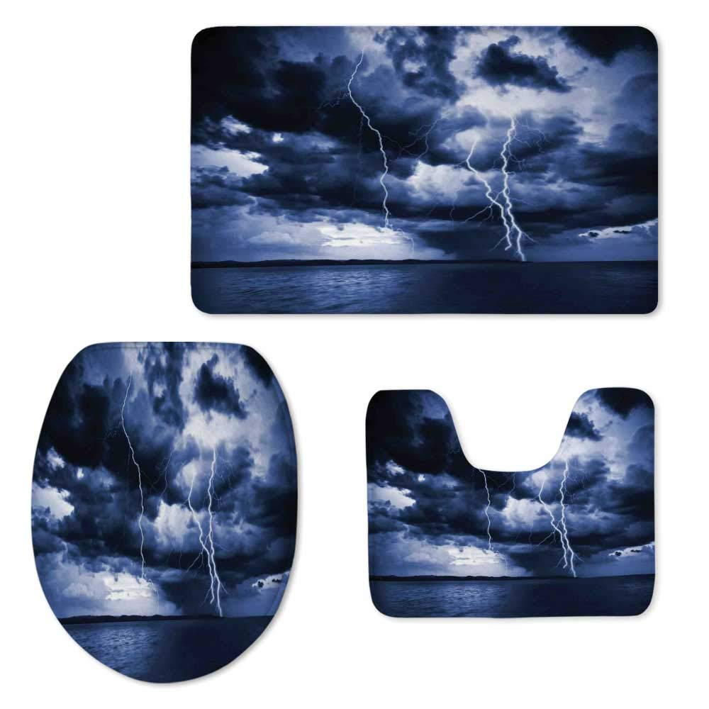 Lake House Decor Soft Three Piece Toilet Seat,Majestic Sky View with Huge Rain Clouds All Over The Sea and Vibrant Storm Rays Decorative for Toilet,ONE Size