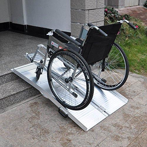 Rampa silla ruedas 244cm 270kg doble plegable aluminio coche acceso vehículo transportable portátil: Amazon.es: Coche y moto