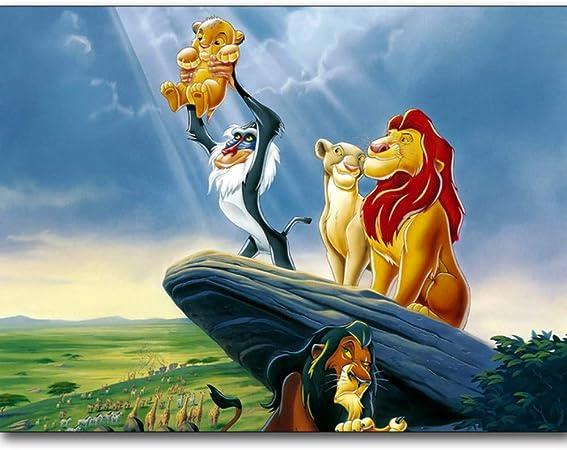 5D Puzzle Casual Divertissement Dessin Anim/é Broderie Lion Roi Amour Diy Diamant Peinture D/écoration Cadeau-30x40cm