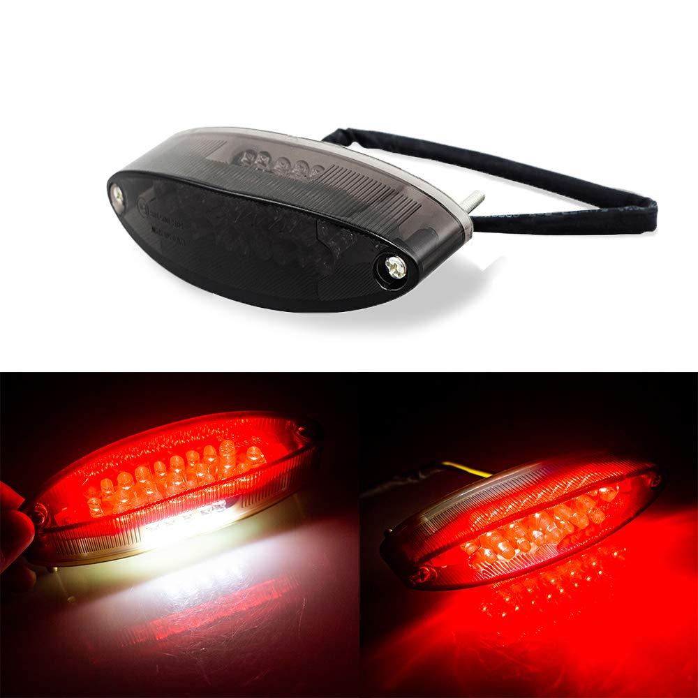Fum/ée Evomosa Universal 28 LEDs Moto LTZ ATV feu arri/ère et plaque dimmatriculation avec clignotants feux stop pour Suzuki Harley Davidson Kawasaki Triumph BMW DR DRZ 650 400