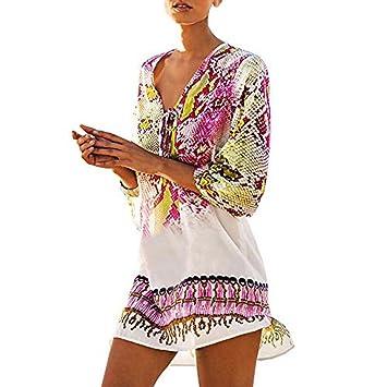 Vestido Gasa De Playa Bohemios Mujer LHWY, Suelta Chal Kimono Bikini Cover Up Sexy Blusa Con Cuello Redondo Verano (Rosa): Amazon.es: Deportes y aire libre