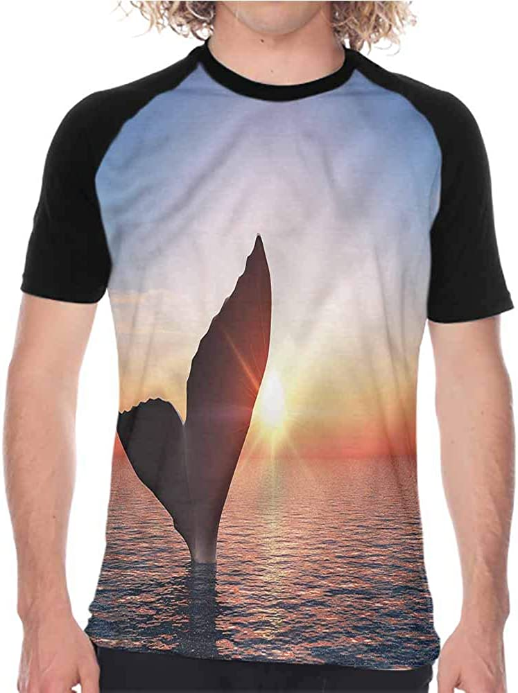 Whale,Summer Custom Baseball Tees Smiley Whale and Lines,Mens Casual Sleeve T Shirt