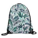 Portable Drawstring Bag Gym Bag - Green Fine Leaves