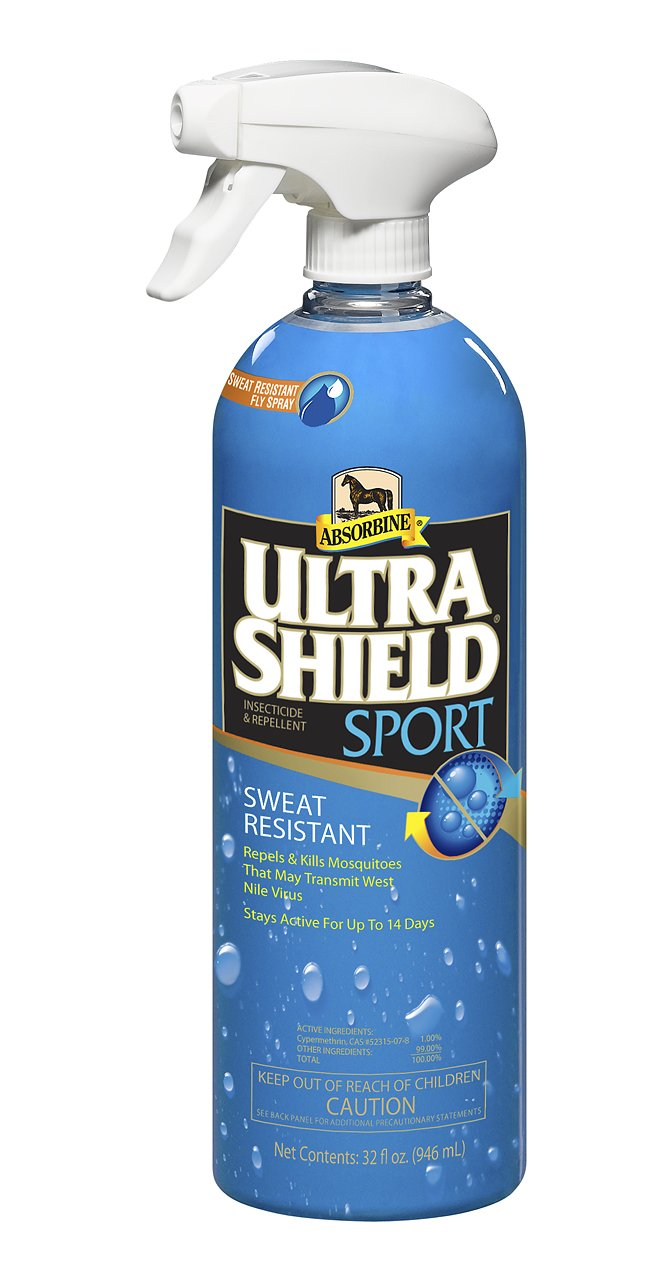 Absorbine 32 Fl Oz Ultra Shield Sport Sweat Resistant Fly Spray Repels and Kills Insecticide and Repellent