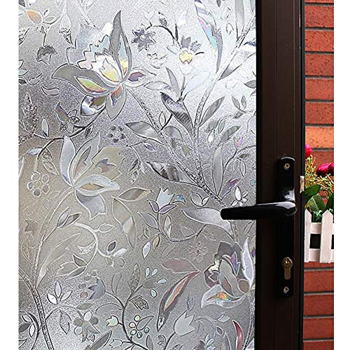 Mikomer Tulip Decorative Window Film,No Glue Frosted Privacy Film,Stained Glass Door Film,Reflective Static Cling Heat Control Anti UV Window Decoration for Home and Office,35 inches by 78.7 inches