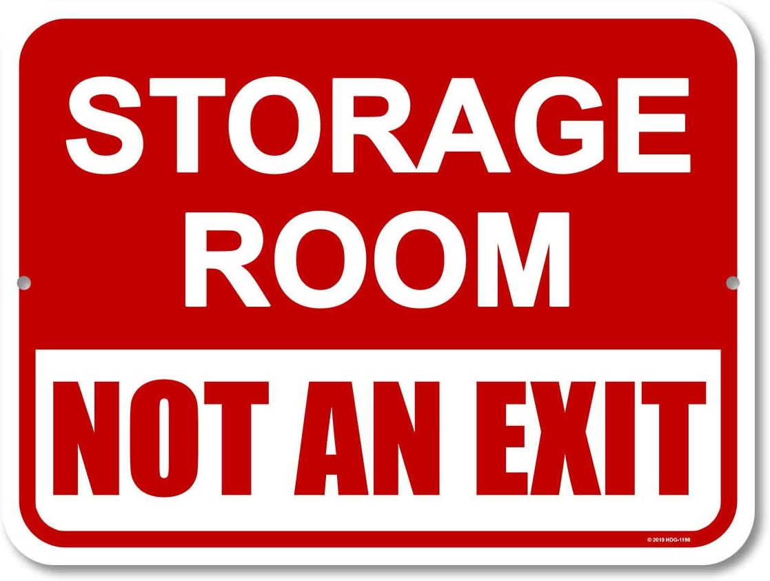 Honey Dew Gifts Door Sign, Storage Room Not an Exit 9 inch by 12 inch Metal Signs for Business, Aluminum Exit Sign, Made in USA