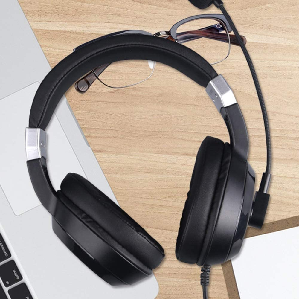 Intelligent Noise Reduction 360/° Rotating Straw Body Light Wearing Comfortable Stretchable Design Head-Mounted Stereo Gaming Headset CHUSHENG USB Wired Headset