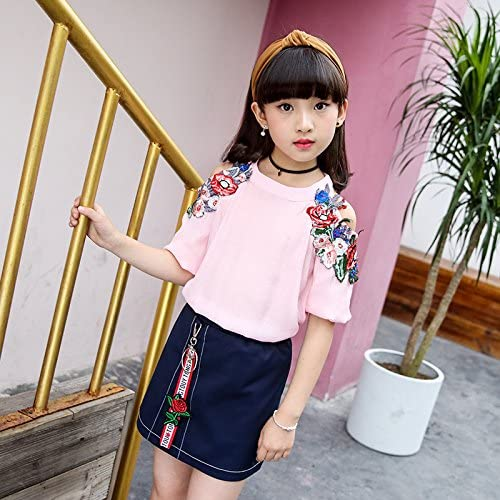 MV Childrens Wear Girls New Summer Suit Children Two-Piece Fashion Clothes Pink