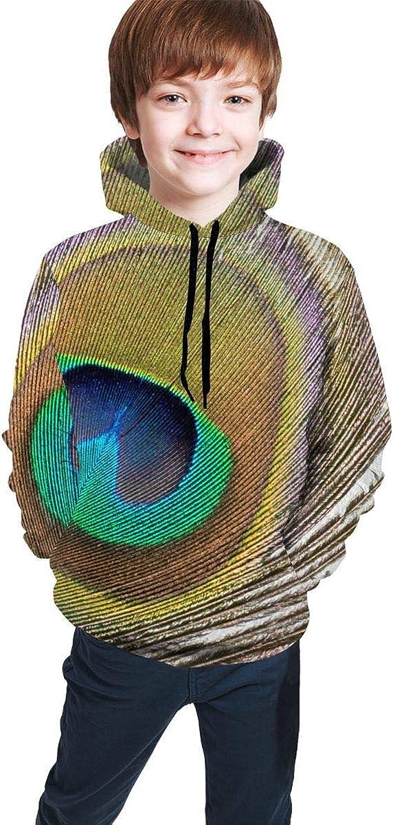 Lichenran Peacock Feather Unisex Pullover Teens Hoodie Hooded Sweatshirt Colorful
