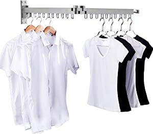 """Bakala Wall Mounted Space-Saver, Clothes Drying Rack, Retractable Fold Away Clothes Dry Racks, Easy to Install Design, Balcony, Mudroom, Bedroom, PoolArea etc (23.7""""x7.5""""x4.1""""Sliver)"""