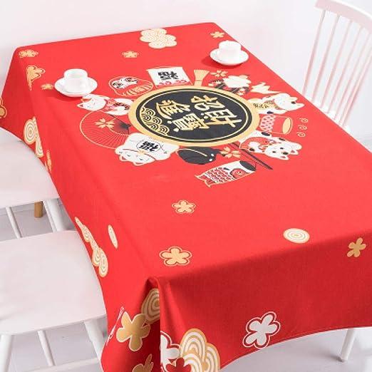 SUNMINGY Año Nuevo Fortune Cat Mesa De Café Japonesa Manteles De ...